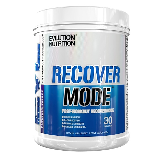 EVLution Nutrition, RECOVERMODE, Post-Workout RECOVERMODE, Furious Grape, 22.2 oz (630 g) (Discontinued Item)