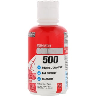 EVLution Nutrition, L-Carnitine500, Natural Berry, 16 fl oz (465 ml)