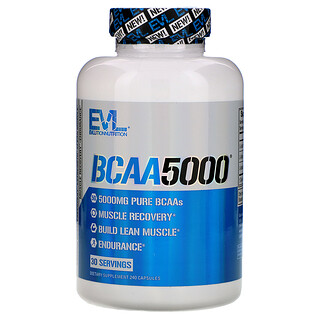 EVLution Nutrition, BCAA5000 膳食補充劑,240 粒膠囊