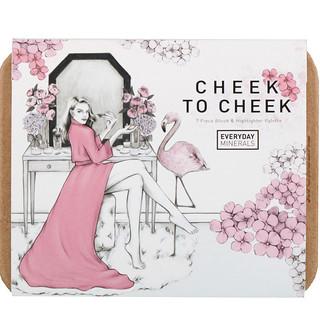 Everyday Minerals, Cheek to Cheek, Blush & Highlighter Palette, 7 Piece Set