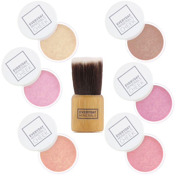 Everyday Minerals, Cheek to Cheek, Blush & Highlighter Palette, 7 Piece Set (Discontinued Item)
