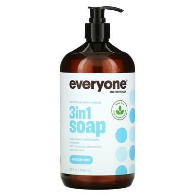 Everyone 3 In 1 Soap, Body Wash, Bubble Bath, Shampoo, Unscented, 32 fl oz (946 ml)