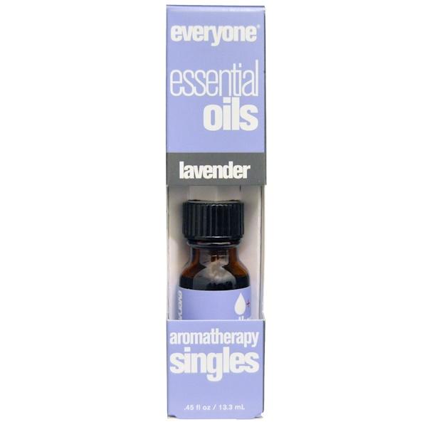 Everyone, エッセンシャルオイルズ、アロマテラピー シングルズ、ラベンダー、0.45 fl oz (13.3 ml) (Discontinued Item)