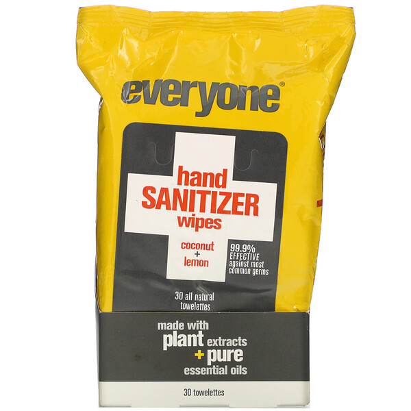 Everyone, Hand Sanitizer Wipes, Coconut + Lemon, 30 Towelettes