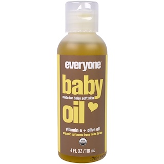 Everyone, Organic Baby Oil, Vitamin E+ Olive Oil, 4 fl oz (118 ml)