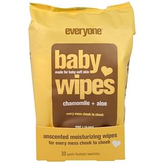 Everyone, Baby Wipes, Chamomile Plus Aloe, 30 Gentle Flushable Towelettes