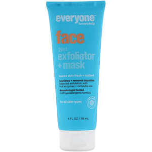 Everyone, Face, 2 in 1 Exfoliator + Mask, 4 fl oz (118 ml)