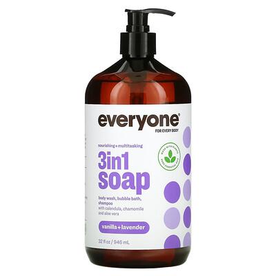 Everyone 3 In 1 Soap, Body Wash, Bubble Bath, Shampoo, Vanilla + Lavender, 32 fl oz (946 ml)