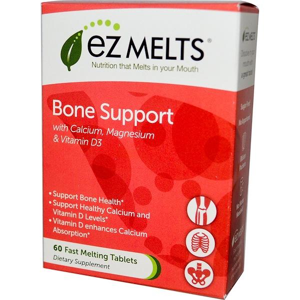 EZ Melts, Bone Support, Strawberry Smoothie Flavor, 60 Fast Melting Tablets (Discontinued Item)