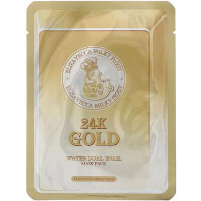Купить Elizavecca Milky Piggy, 24k Gold Water Dual Snail, тканевая маска с золотом и секретом улитки, 10шт., по 25г (0, 88унции)
