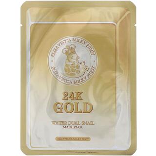 Elizavecca, ミルキーピギー、純金ゴールドウォーターデュアルカタツムリマスクパック、10枚、各25 g(0.88 oz)