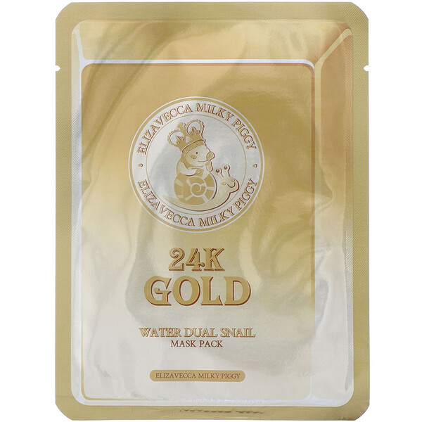 Milky Piggy, 24k Gold Water Dual Snail Beauty Mask Pack, 10 Sheets, 0.88 oz (25 g) Each