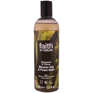 Faith in Nature, Shower Gel & Foam Bath, Seaweed & Citrus, 13.5 fl oz (400 ml)