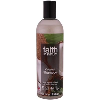 Faith in Nature 洗髮水,普通及乾性髮質適用,椰子,13.5 液體盎司(400 毫升)