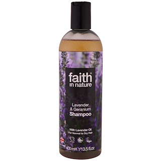 Faith in Nature, Shampoo, For Normal to Dry Hair, Lavender & Geranium, 13.5 fl oz (400 ml)