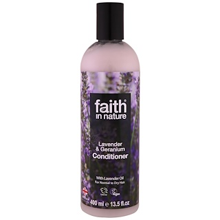 Faith in Nature, Conditioner, For Normal to Dry Hair, Lavender & Geranium, 13.5 fl oz (400 ml)