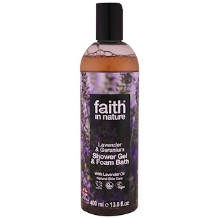 Faith in Nature, Gel de ducha y espuma de baño, Lavanda y Geranio, 13.5 fl oz (400 ml)