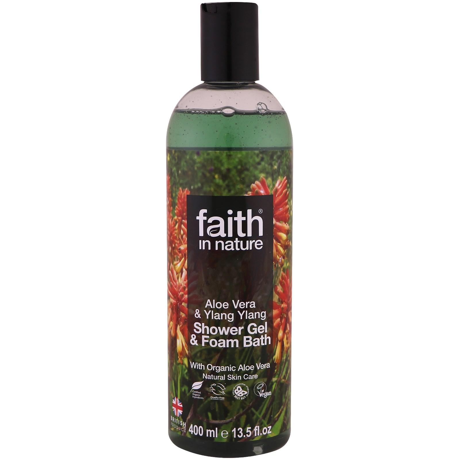 Faith in Nature, Гель для душа и пена для ванны, алоэ вера и иланг-иланг, 13,5 жидких унций (400 мл)