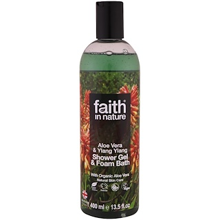 Faith in Nature, Shower Gel & Foam Bath, Aloe Vera & Ylang Ylang, 13.5 fl. oz (400 ml)