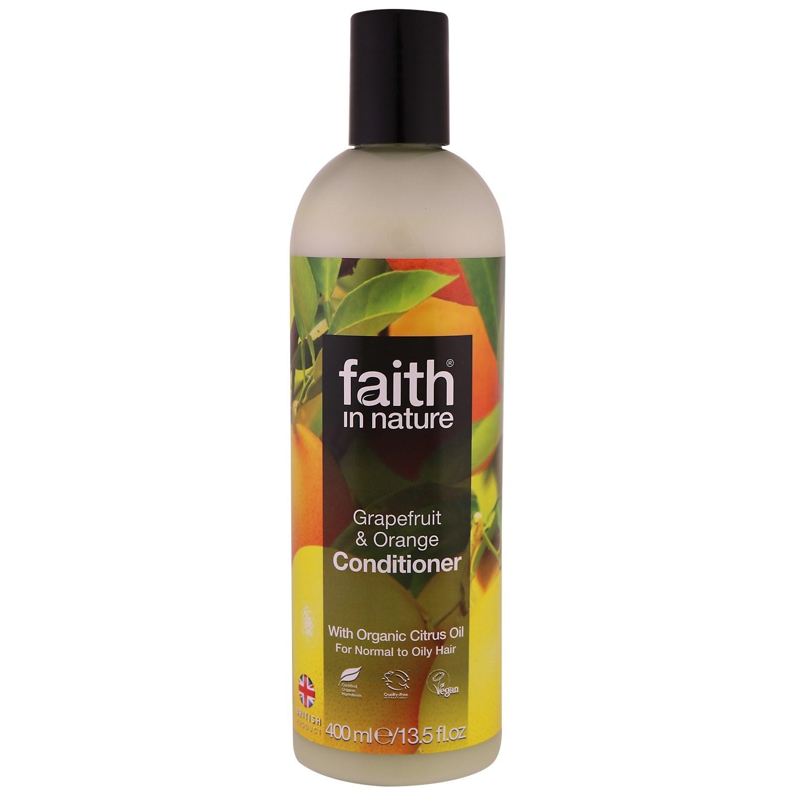 Faith in Nature, Кондиционер, для нормальных и жирных волос, грейпфрут и апельсин, 13,5 жидких унций (400 мл)