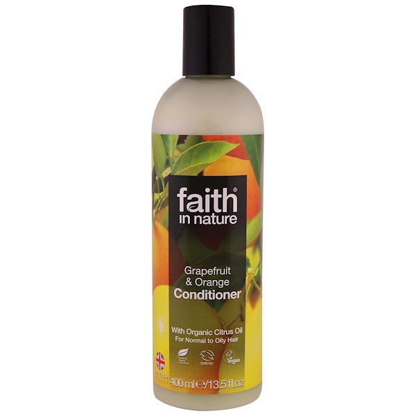 Faith in Nature, Conditioner, For Normal to Oily Hair, Grapefruit & Orange, 13.5 fl. oz (400 ml) (Discontinued Item)