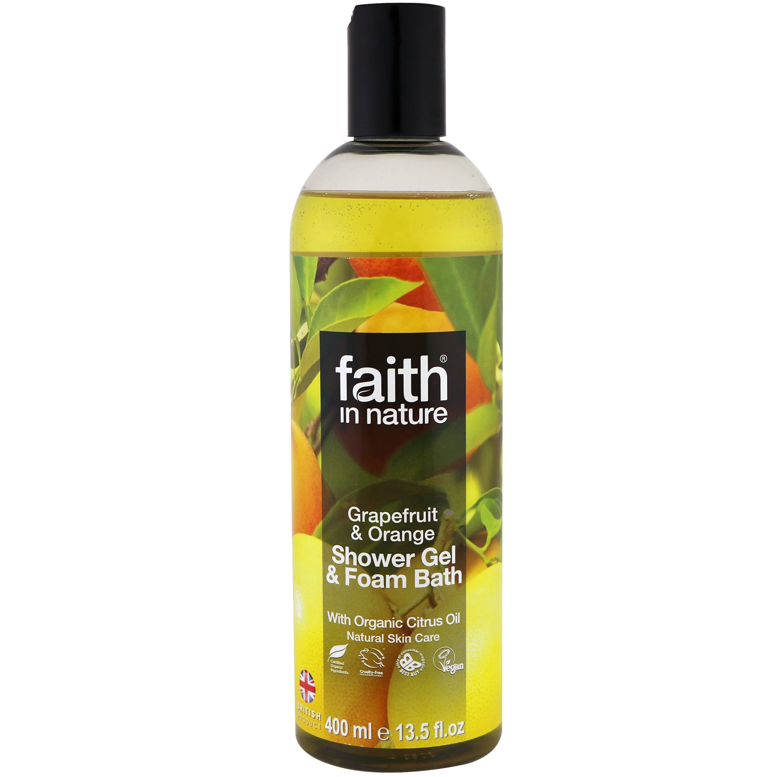 Faith in Nature, Shower Gel & Foam Bath, Grapefruit & Orange, 13.5 fl oz (400 ml)