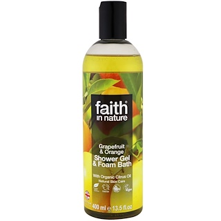 Faith in Nature, Shower Gel & Foam Bath, Grapefruit & Orange, 13.5 fl oz (400 ml)