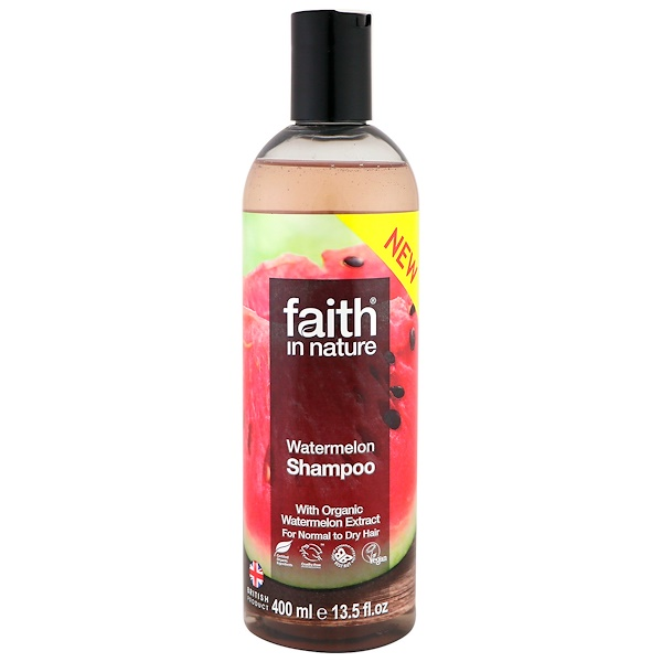 Faith in Nature, Shampoo, For Normal to Dry Hair, Watermelon, 13.5 fl oz (400 ml)