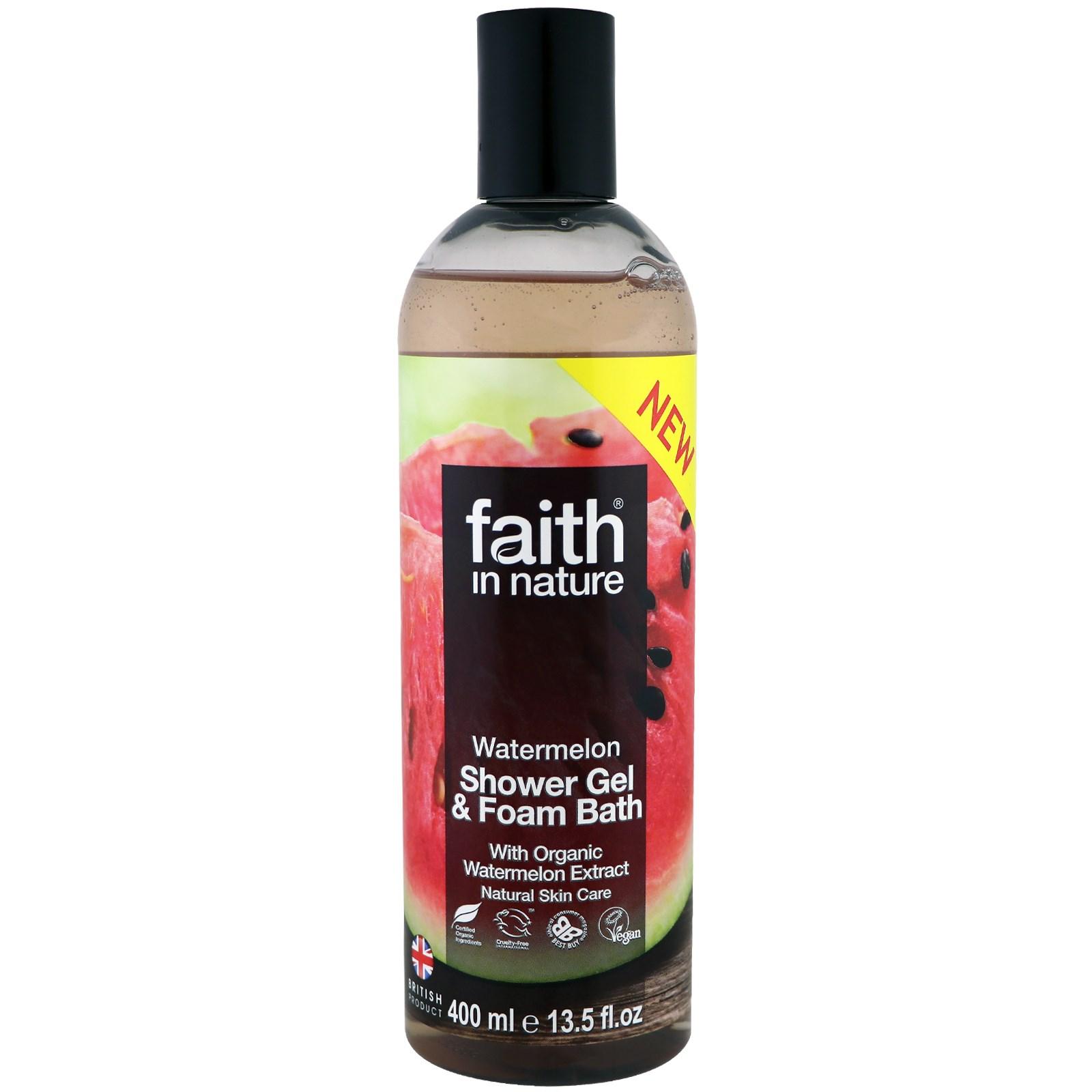 Faith in Nature, Shower Gel & Foam Bath, Watermelon, 13.5 fl oz (400 ml)