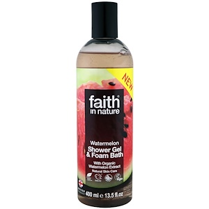Faith in Nature, Shower Gel & Foam Bath, Watermelon, 13.5 fl oz (400 ml)