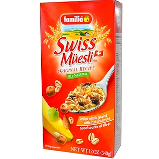 Familia, Swiss Muesli, Rolled Whole Grains with Fruit and Nuts, Original Recipe, 12 oz (340 g)
