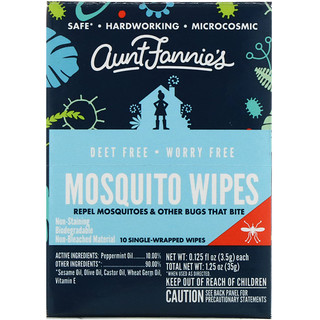 Aunt Fannie's, Pañitos Mosquito, 10 pañitos, 0.125 fl. Oz (3.5 g) c/u