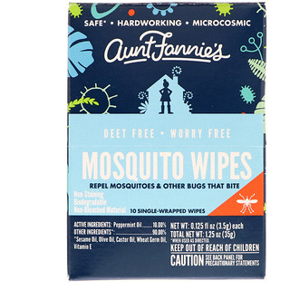 Aunt Fannie's, Mosquito Wipes, 10 Wipes, 0.125 fl oz (3.5 g) Each