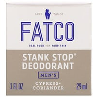 Fatco, Stank Stop Natural Deodorant, Men's, Cypress + Coriander, 1 fl oz (29 ml)