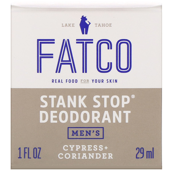 Fatco, Stank Stop Natural Deodorant, Men's, Cypress + Coriander, 1 fl oz (29 ml) (Discontinued Item)