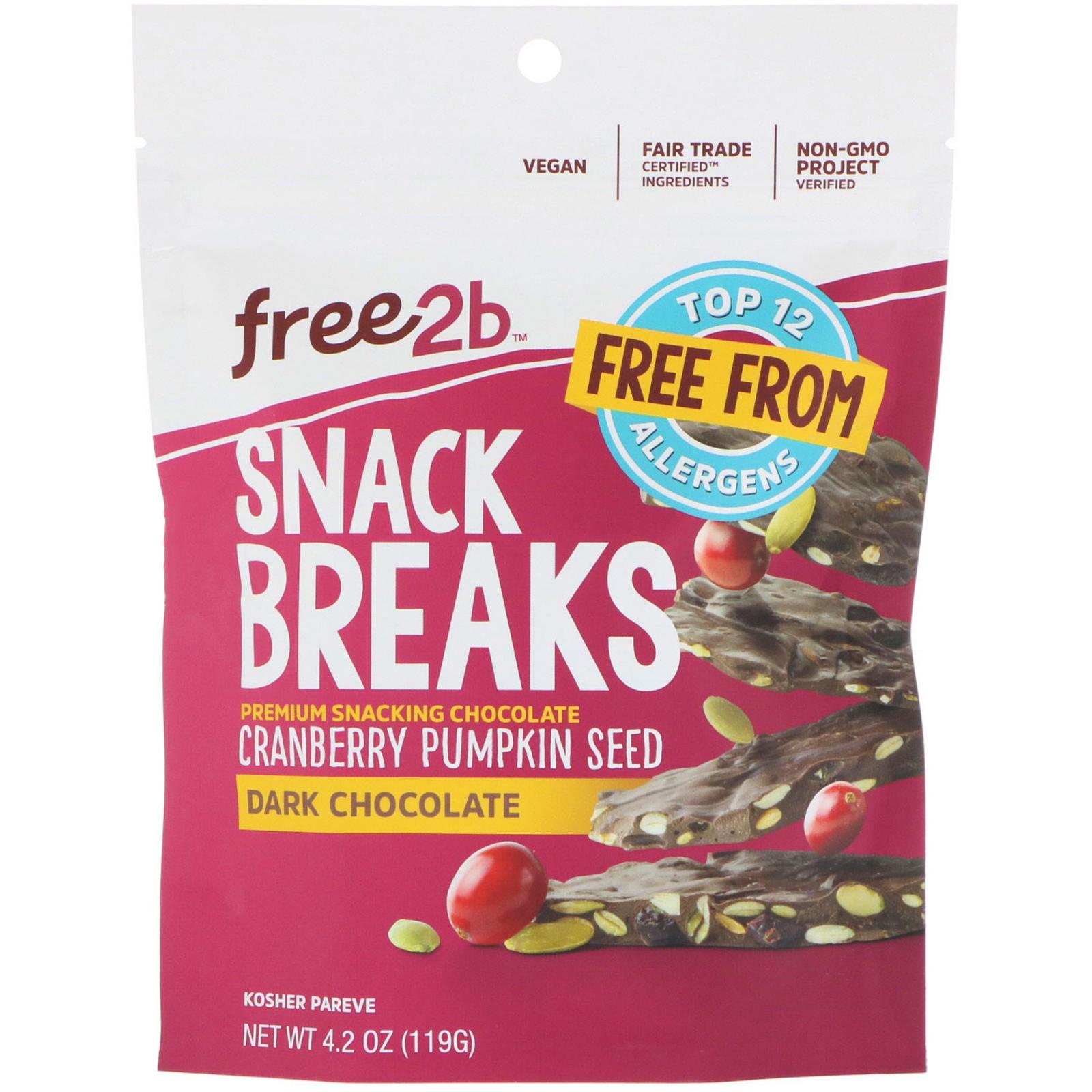 Free2B, Snack Breaks, Cranberry Pumpkin Seed, Dark Chocolate, 4.2 oz (119 g)