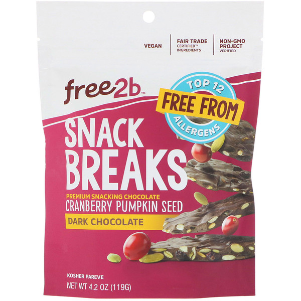 Free2B, Snack Breaks, Cranberry Pumpkin Seed, Dark Chocolate, 4.2 oz (119 g) (Discontinued Item)