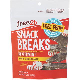 Free2B, Snack Breaks, Peppermint, Dark Chocolate, 4.2 oz (119 g)