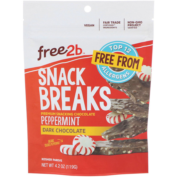 Free2B, Snack Breaks, Peppermint, Dark Chocolate, 4.2 oz (119 g) (Discontinued Item)