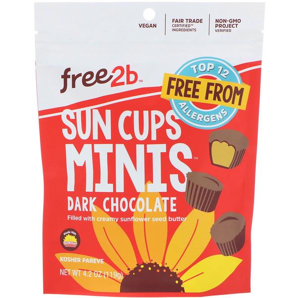 Free2B, Sun Cups Minis, Dark Chocolate, 4.2 oz (119 g) (Discontinued Item)