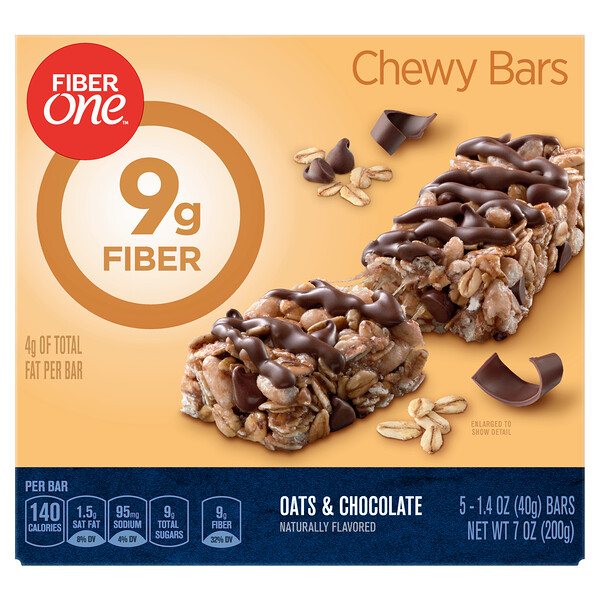 Chewy Bars, Oats and Chocolate , 5 Bars, 1.4 oz (40 g) Each