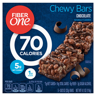 Fiber One, Chewy Bars, Chocolate, 5 Bars, 0.82 oz (23 g) Each