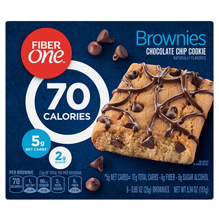 Fiber One, Brownies, Chocolate Chip Cookie, 6 Bars, 0.89 oz (25 g) Each