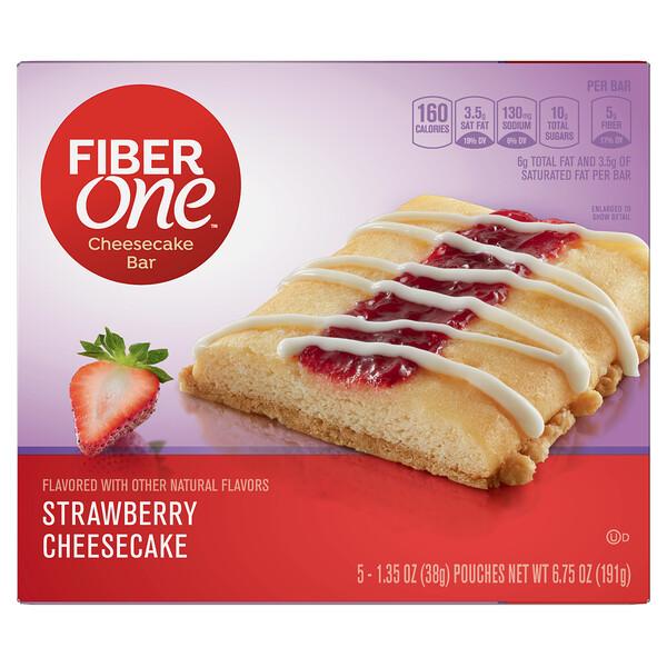 Fiber One, Cheesecake Bar, Strawberry Cheesecake, 5 Bars, 1.35 oz (38 g) Each