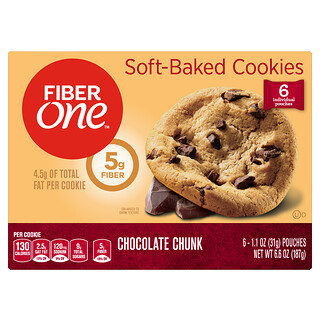Fiber One, Soft-Baked Cookies, Chocolate Chunk, 6 Pouches, 1.1 oz (31 g) Each