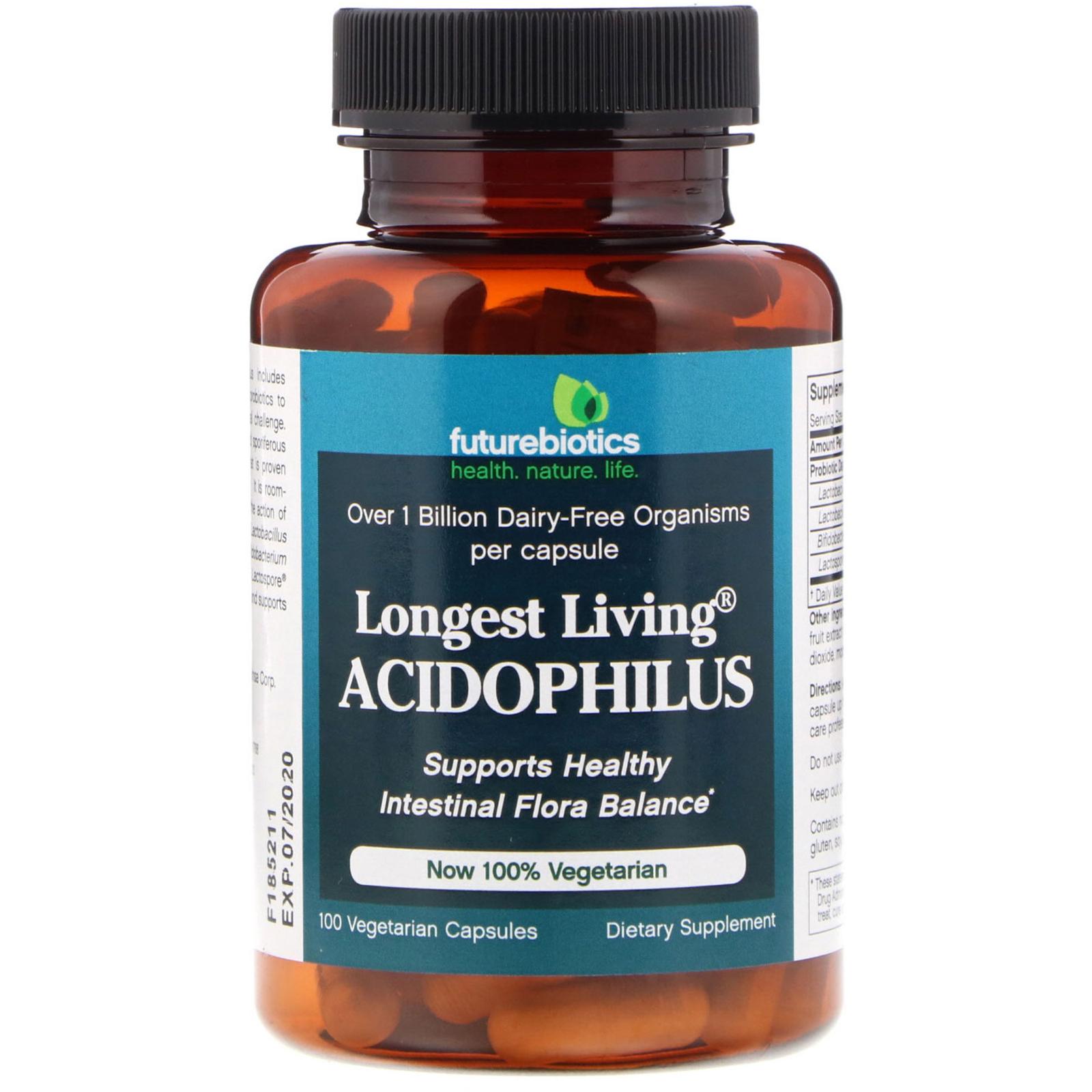 FutureBiotics, Longest Living Acidophilus, 100 Vegetarian Capsules