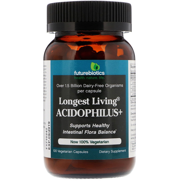 Longest Living Acidophilus+, 100 Vegetarian Capsules
