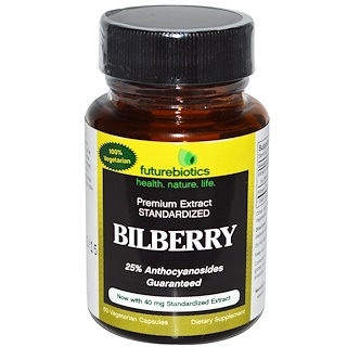 FutureBiotics, Arándano Bilberry, 60 cápsulas vegetarianas