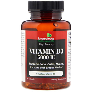 FutureBiotics, Vitamin D3, 5000 IU, 90 Softgels