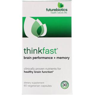 FutureBiotics, ThinkFast, Performance Cerebral + Memória, 60 Cápsulas Vegetais